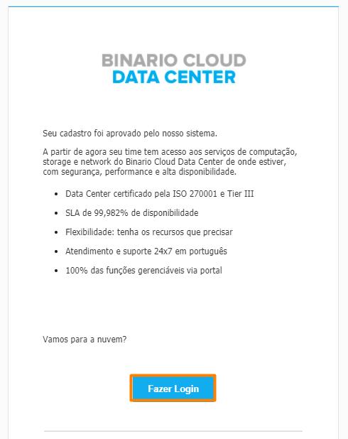 Email de aprovação da conta no Central da Binario Cloud
